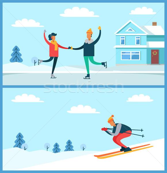 Skating Couple and Skier Set Vector Illustration Stock photo © robuart