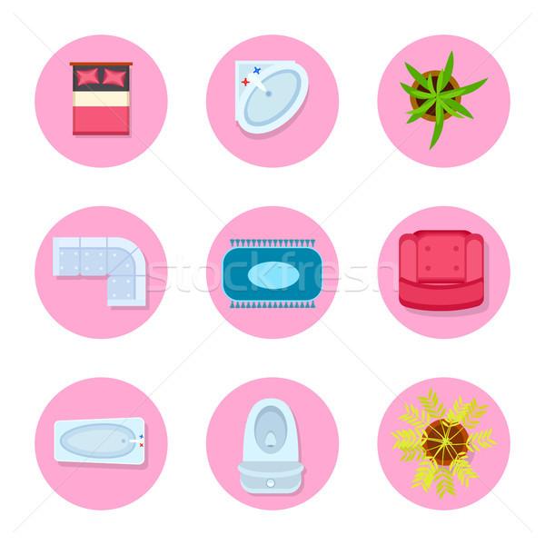 дизайна объекты ванную гостиной спальня Сток-фото © robuart