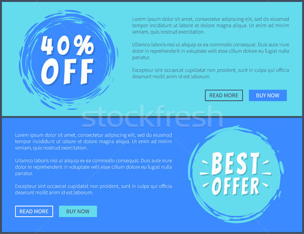 Two Best Offer 40 Percent Off Promotion Posters Stock photo © robuart