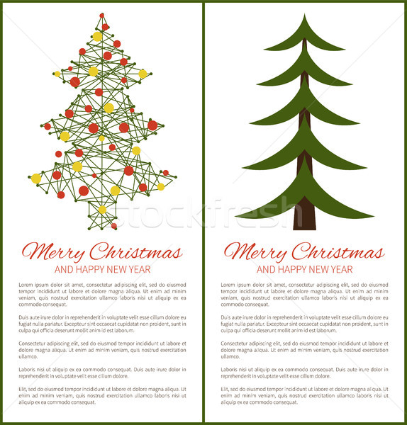 Merry Christmas Happy New Year Posters with Tree Stock photo © robuart