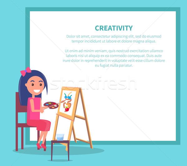 креативность плакат девушки рисунок ваза вектора Сток-фото © robuart