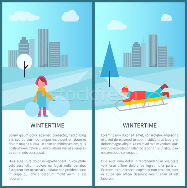 Wintertime Childish Activities Vector Illustration Stock photo © robuart