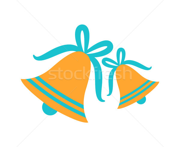 Gold Jingle Bells with Blue Ribbons Tied in Bows Stock photo © robuart