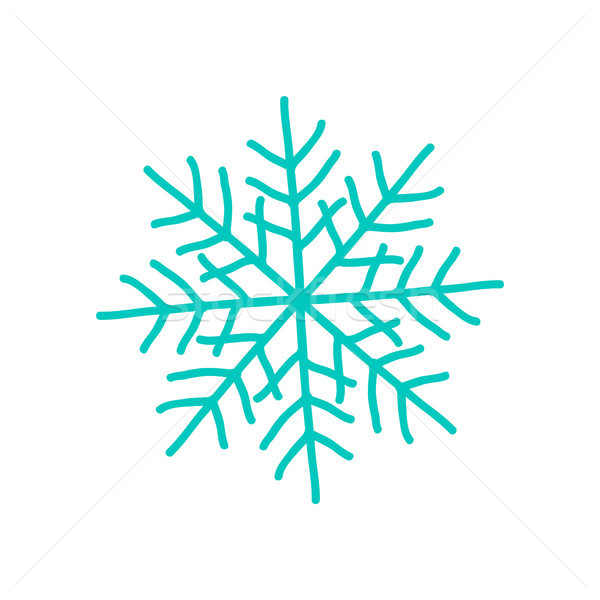Big Blue Snowflake Poster on Vector Illustration Stock photo © robuart