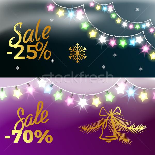 Zdjęcia stock: 25 · sprzedaży · nowy · rok · kolorowy · girlanda · płatki · śniegu