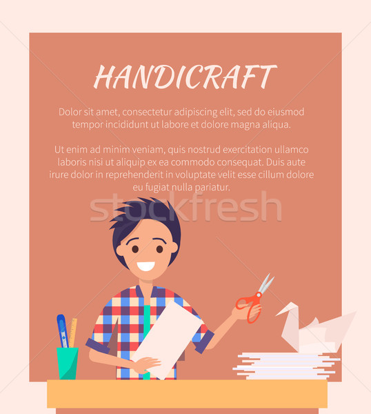 Handicraft Banner with Man Making Origami Swan Stock photo © robuart