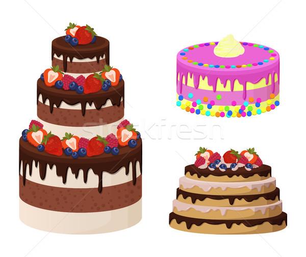Słodkie piekarni kolekcja plakat ciasta krem Zdjęcia stock © robuart