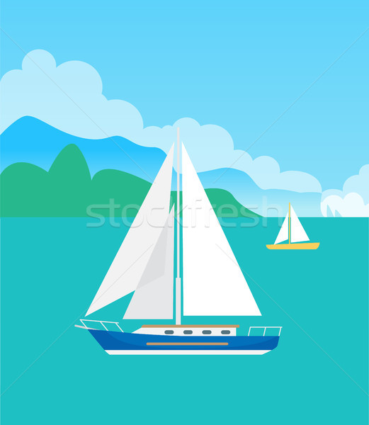 Two Pretty Sailsboats, Color Vector Illustration Stock photo © robuart