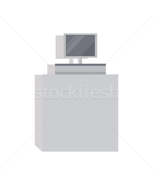 Pénztáros pult képernyő szürke szín áruház Stock fotó © robuart