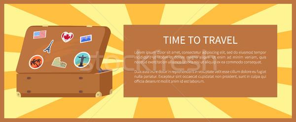 Idő utazás bőrönd mágnesek USA Franciaország Stock fotó © robuart