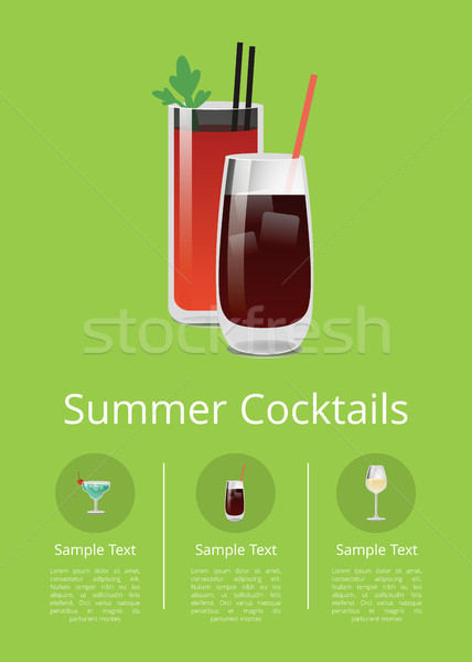 Summer Cocktails Colorful Vector Illustration Stock photo © robuart