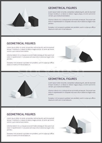 Geometrik ayarlamak poster posterler toplama piramit Stok fotoğraf © robuart