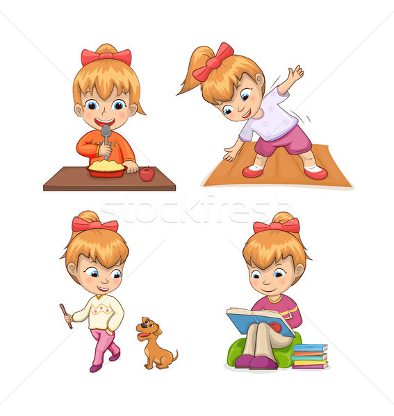 Girl Collection of Activities Vector Illustration Stock photo © robuart