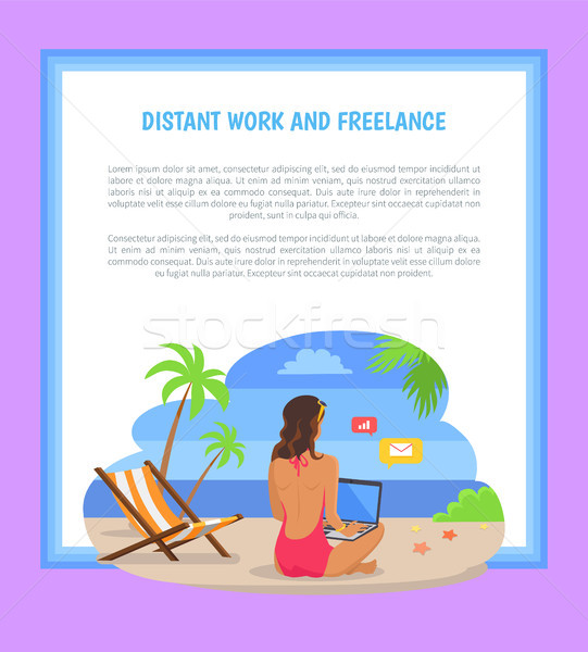 Afgelegen werk freelance poster freelancer vrouw Stockfoto © robuart