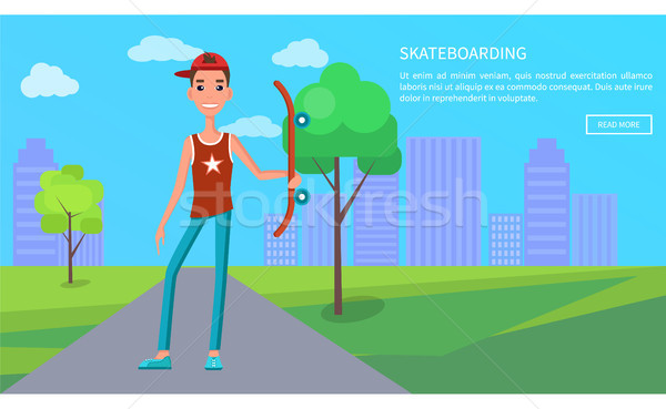 скейтбординга онлайн плакат молодые скейтбордист веб Сток-фото © robuart