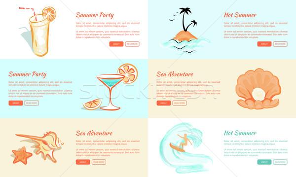 Sommer Party Abenteuer Vektor Web Banner Stock foto © robuart