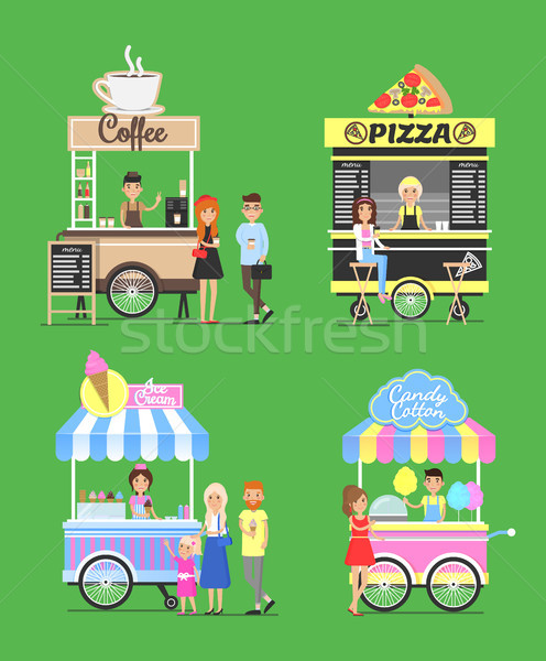 Street Fast Food from Carts with Friendly Vendors Stock photo © robuart