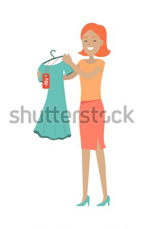 Woman Choosing New Summer Vogue Long Modern Dress Stock photo © robuart