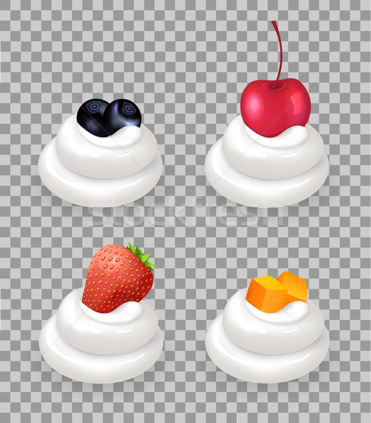 Ripe Berries and Fruit Cubes on Whipped Cream Stock photo © robuart