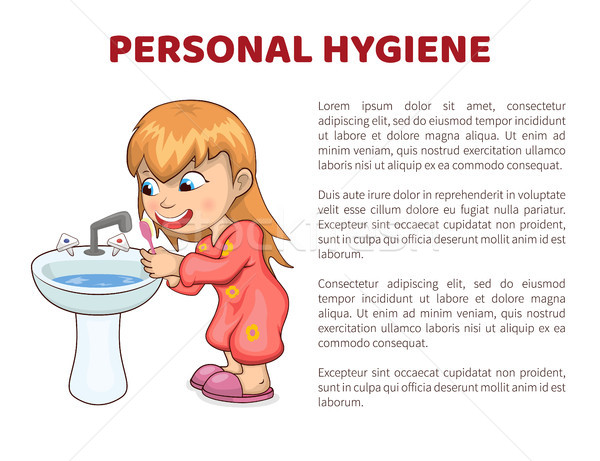 Personal Hygiene Vector Illustration Poster Girl Stock photo © robuart