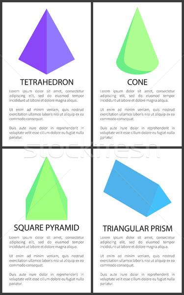 Cono piazza piramide prisma raccolta 3D Foto d'archivio © robuart