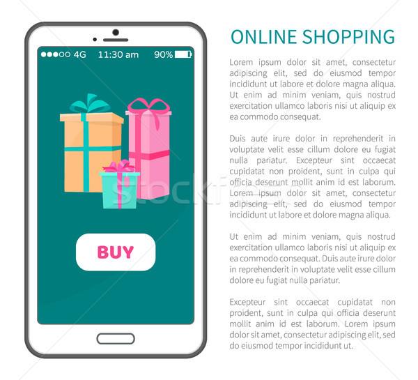 Online alışveriş satın almak düğme hediye hediye kutuları Stok fotoğraf © robuart