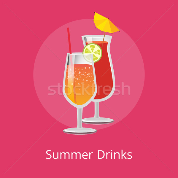 Summer Drinks Pair of Refreshing Alcohol Cocktails Stock photo © robuart