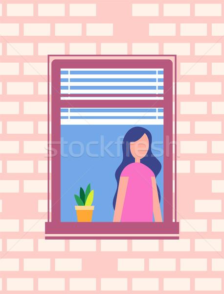 Stock fotó: Nő · áll · nyitva · ablak · virágcserép · vektor