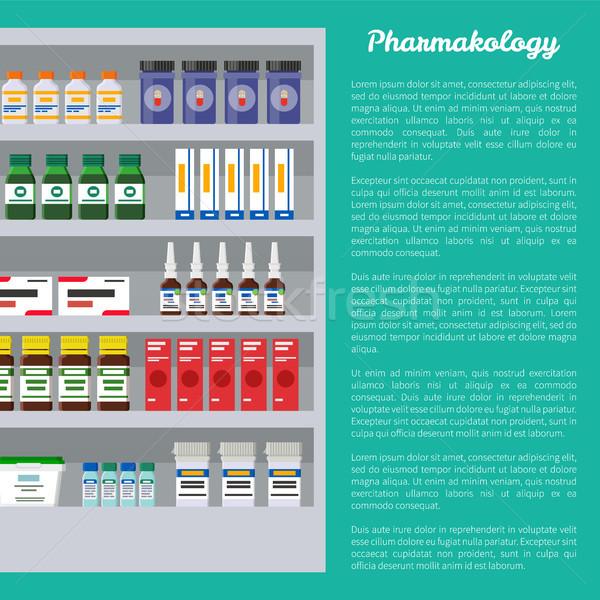 Poszter szöveg minta gyógyszer termékek polcok Stock fotó © robuart