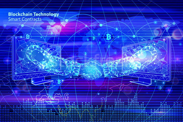 Blockchain Smart Contacts Vector Illustration Stock photo © robuart