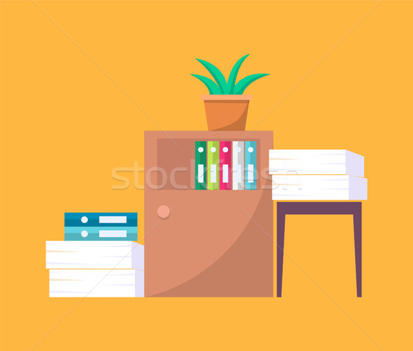 Office Tables with Folders and Piles of Documents Stock photo © robuart