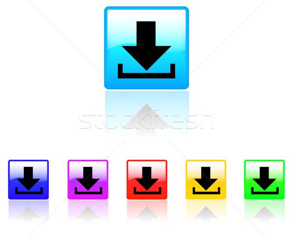 Stok fotoğraf: Indirmek · düğme · beyaz · Internet · web · top