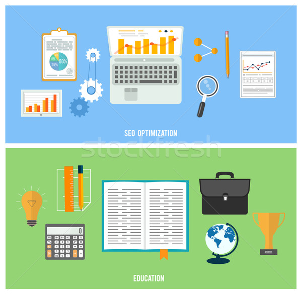 Business, seo and education items icons. Stock photo © robuart