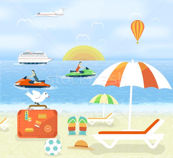 Ikon szett utazó tervez nyári vakáció turizmus utazás Stock fotó © robuart