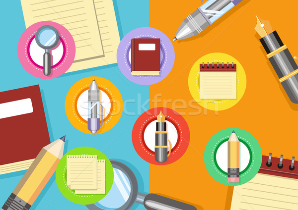 Business workplace with magnifying glass papers Stock photo © robuart