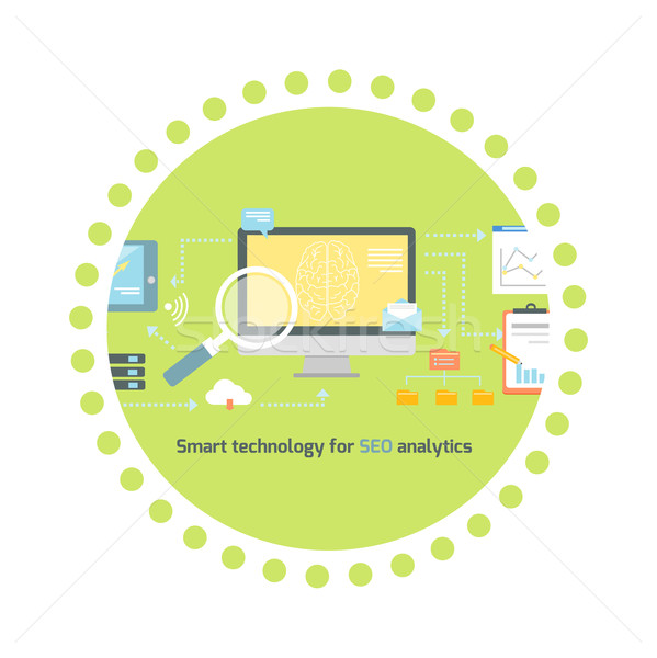 Smart Technology for SEO Analytics Icon Flat Stock photo © robuart