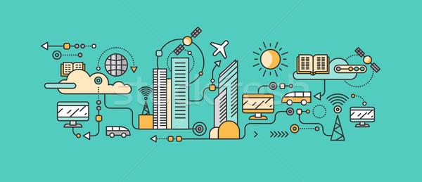 Inteligente tecnologia infra-estrutura cidade ícone rede Foto stock © robuart