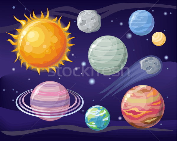 Space with Planet Sun and Star Design Flat Stock photo © robuart