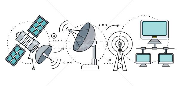 Satellite internet globale rete tecnologia wireless Foto d'archivio © robuart