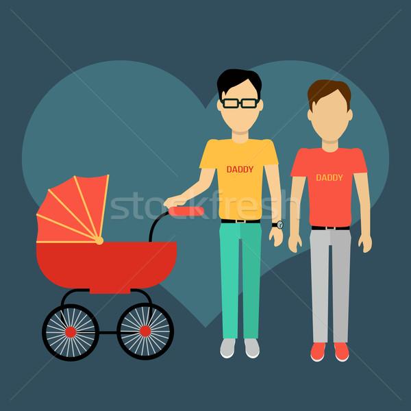Vader kinderwagen banner homo ontwerp ouders Stockfoto © robuart