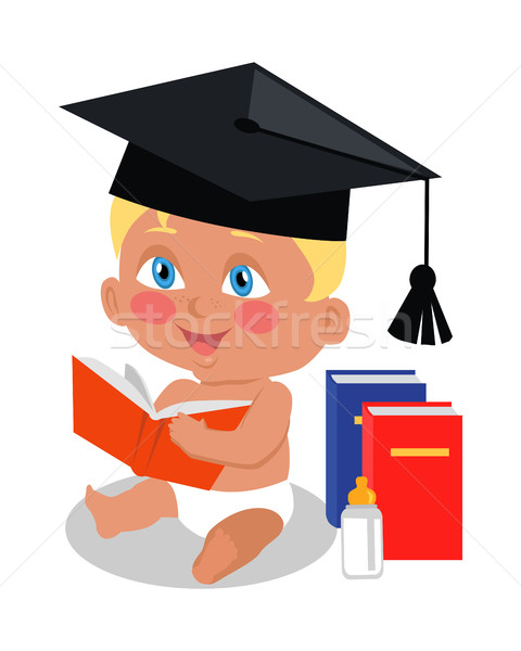 Baby Sitting on Floor with Big Book in Square Cap. Stock photo © robuart