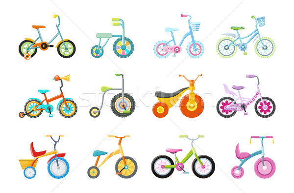 Stock photo: Set of Kids Bicycles and Tricycles