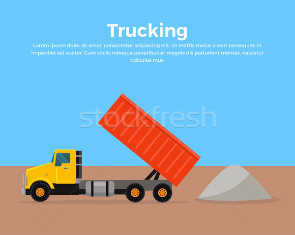 Trucking Banner Flat Design Vector Illustration Stock photo © robuart