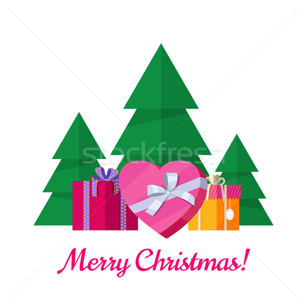 Merry Christmas Vector Concept in Flat Design Stock photo © robuart