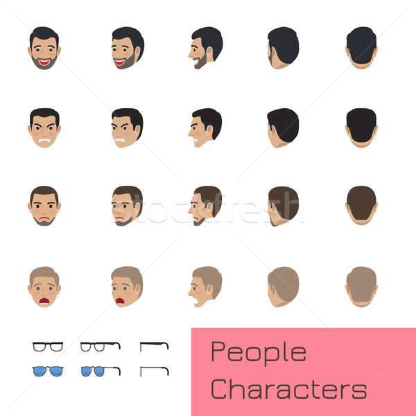 People Characters Set with Emotions and Poses Stock photo © robuart