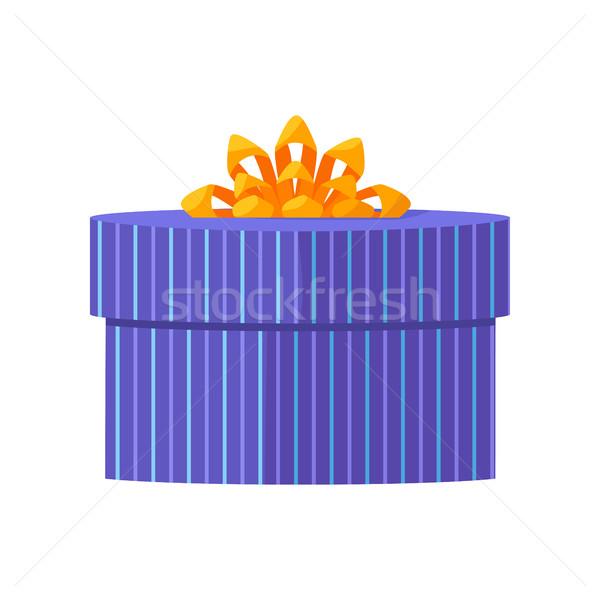Blauw geschenkdoos Geel lint ontwerp mooie Stockfoto © robuart