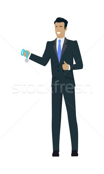 Gagnant affaires médaille homme d'affaires cheveux noirs Photo stock © robuart