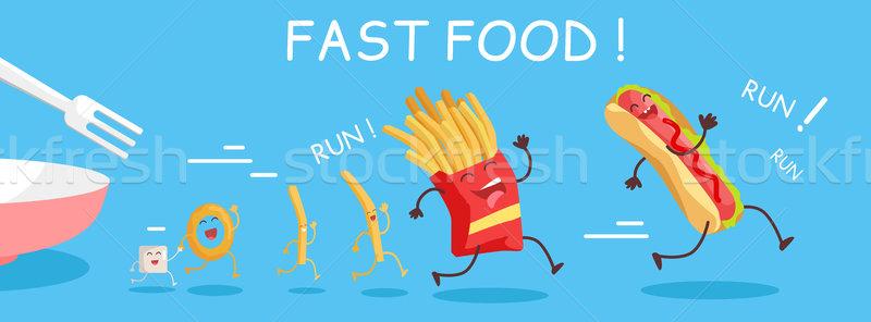 Fast food banner gelukkig maaltijd kind grappig Stockfoto © robuart