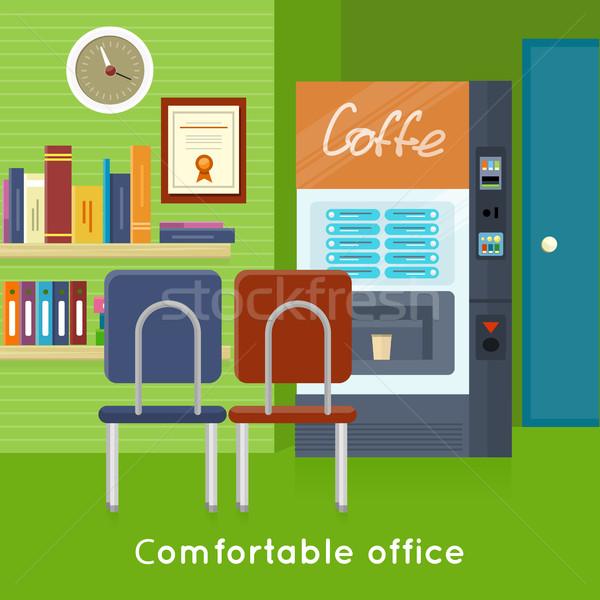 Office Interior Concept Vector In Flat Design. Stock photo © robuart