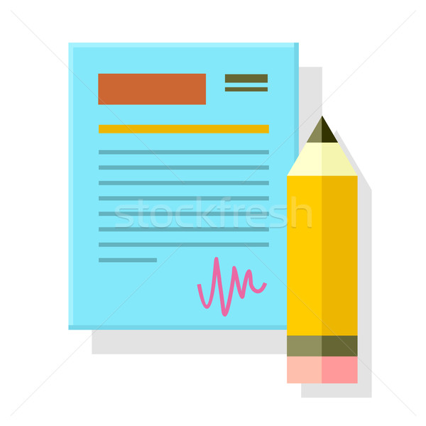 Signed Office Document with Pencil Isolated. Stock photo © robuart